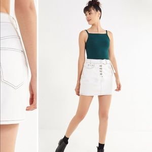8ad254527 Urban Outfitters Skirts | Uo Kirby Denim Button Down White Skirt ...